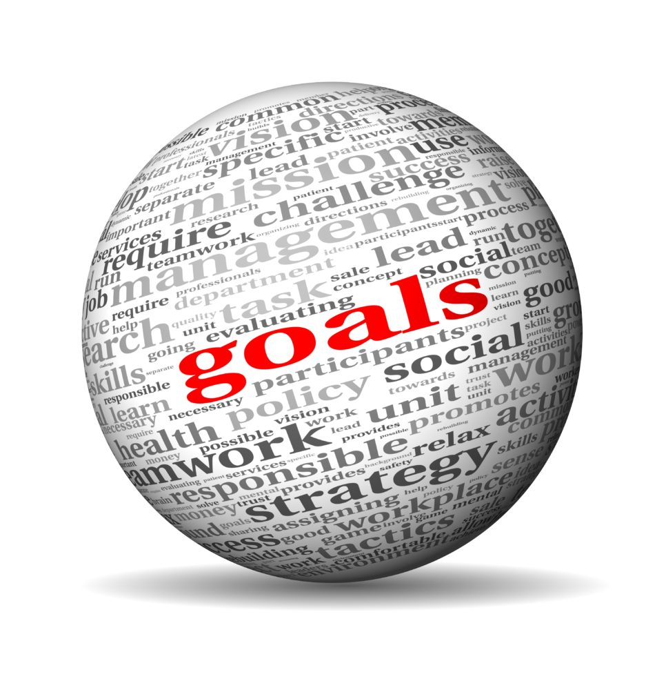 "White sphere with gray encouragement buzz words and ""goals"" in red."