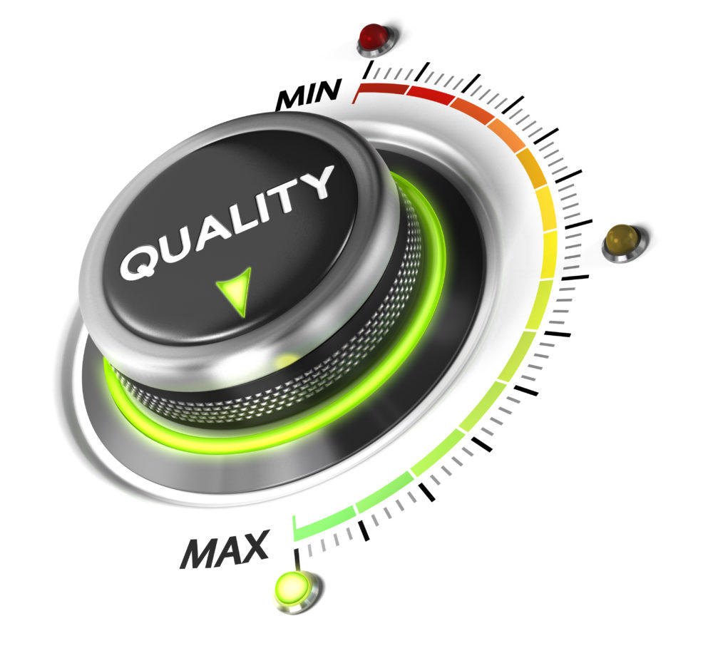 "Dial with the word ""quality"" and arrow that points to ""max"" on min-to-max scale for conference captioning quality."